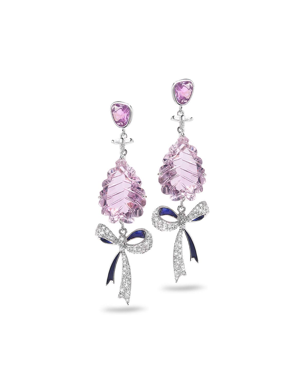 18k White Gold Sapphire/Amethyst Bow Earrings w/ Diamonds