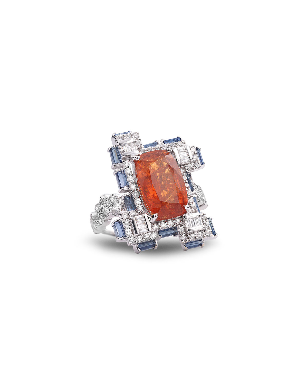Trinity 18k White Gold Mandarin Garnet Ring