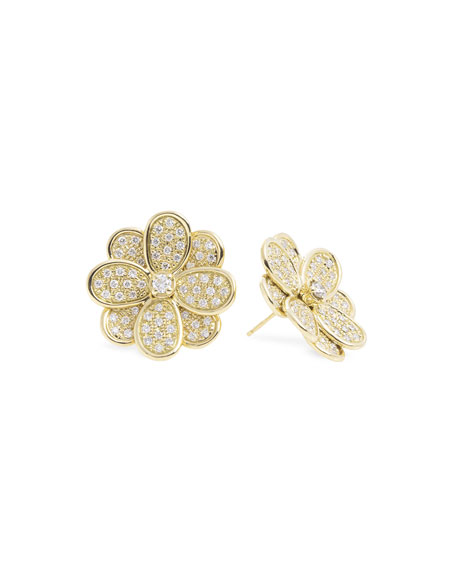 Marco Bicego 18K Yellow Gold Diamond Petali Stud Earrings