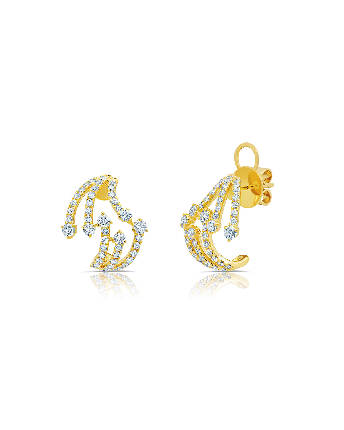 18k Yellow Gold Diamond Cage Post Back Earrings