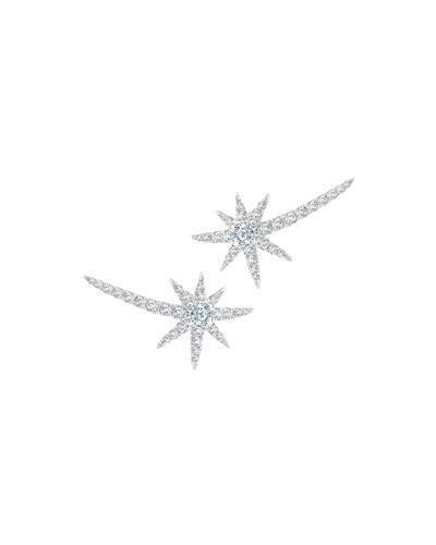 18k White Gold Diamond Shooting Starburst Earrings