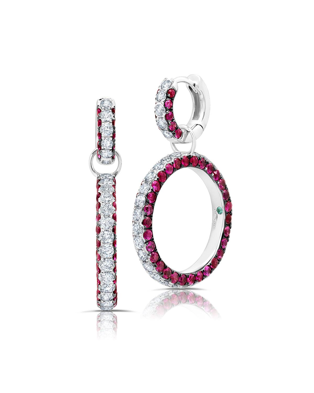 18k Ruby and Diamond 3-Sided Detachable Earrings