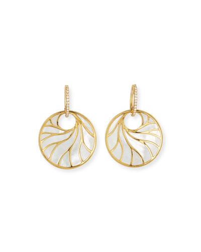 18k Venus Medium Mother-of-Pearl Earrings w/ Diamonds