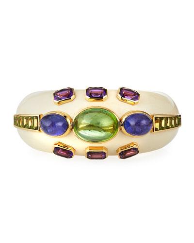 Ivy Enamel 18k Mixed-Stone Bracelet