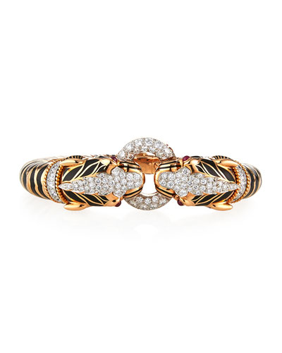 Double Tiger Diamond-Ring Bangle Bracelet
