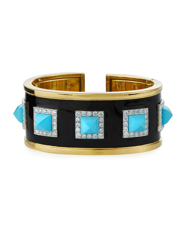 18k Turquoise Pyramid Cuff Bracelet