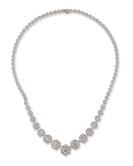 Bessa 18k White Gold Graduated Diamond Necklace