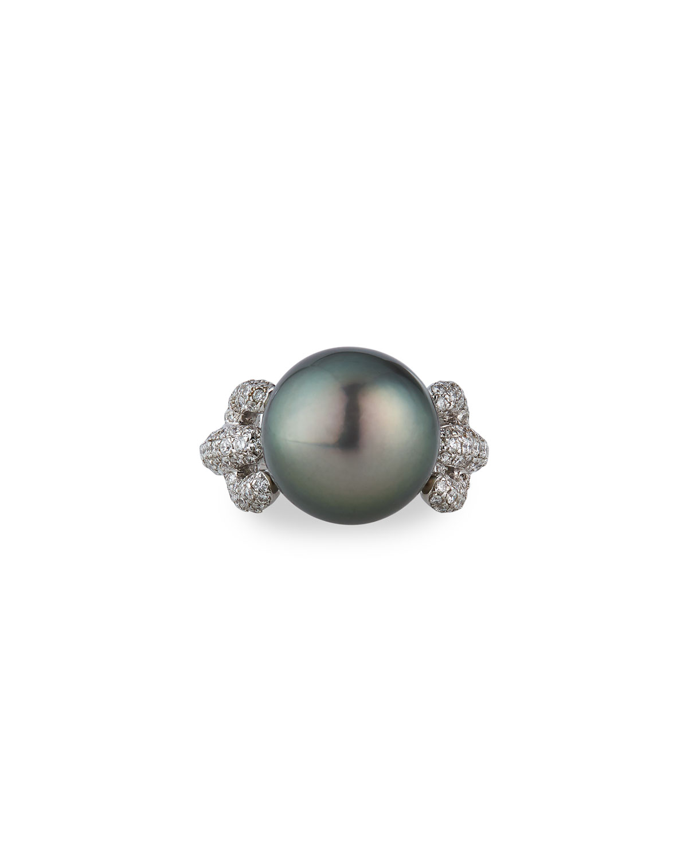 Tahitian Cultured 14.9mm 18k White Gold Diamond Pearl Ring
