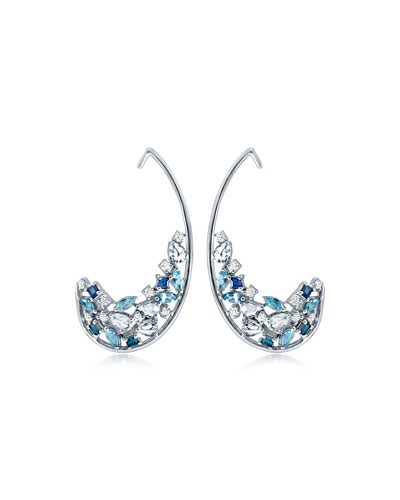 Kalena 18k White Gold Diamond/Sapphire Half-Hoop Earrings