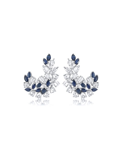 Alder 18k White Gold Sapphire/Diamond Earrings