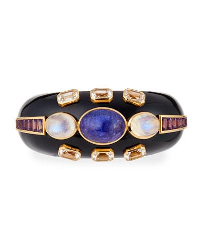 Black Enamel 18k Mixed-Stone Bracelet