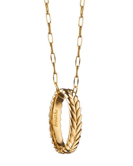 Monica Rich Kosann Breathe Leaf Poesy Ring Necklace