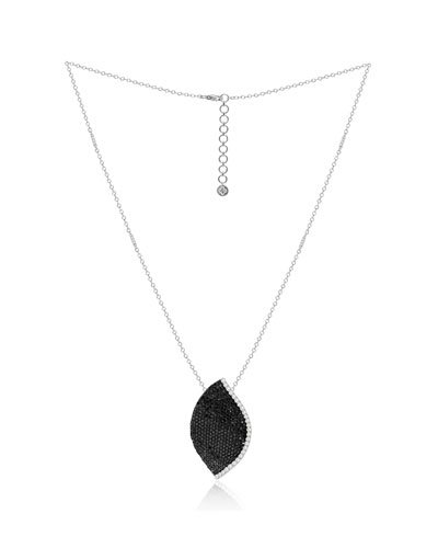 18K White Gold Lotus Leaf Necklace w/ Diamonds