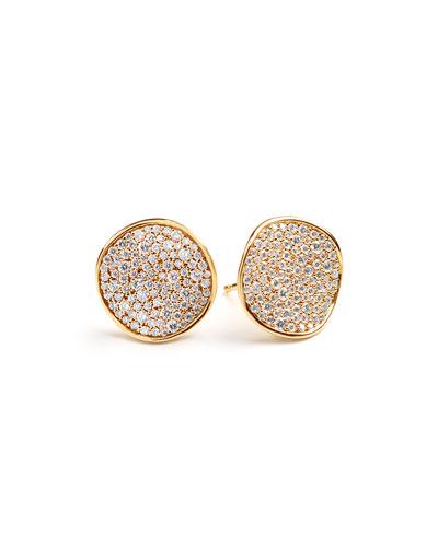 Stardust Pave Diamond Wavy Disc Earrings