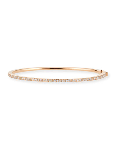 18K Rose Gold Stardust Mixed Pave Skinny Hinge Bangle w/ Diamonds