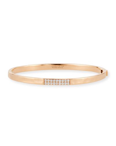 18K Rose Gold Stardust 3-Station Hinge Bangle w/ Diamonds
