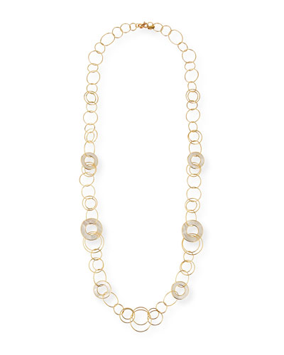 18K Polished Rock Candy Multi Slice Small Link Necklace in Mother-of-Pearl