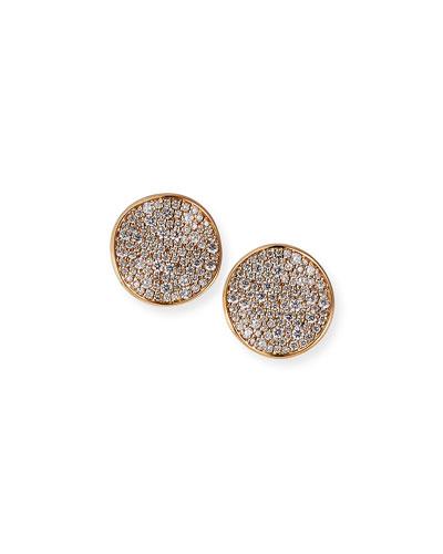 18K Rose Gold Stardust Medium Wavy Pave Disc Earrings