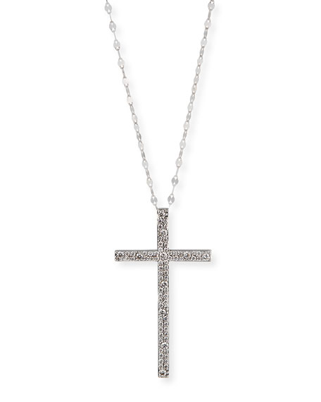 Lana 14k White Gold Diamond Cross Pendant