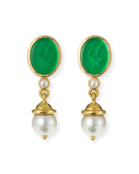 Elizabeth Locke 19k Crane Venetian Glass Intaglio Pearl-Drop Earrings