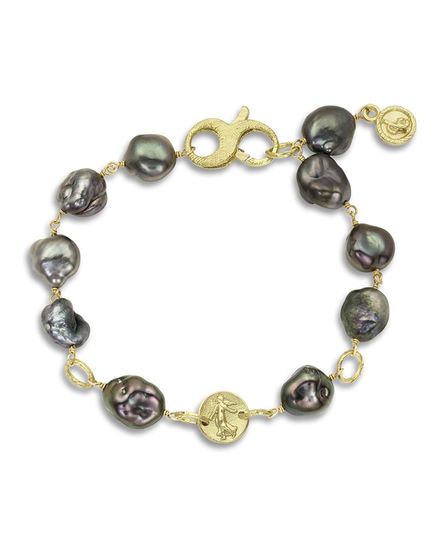 18k Tahitian Pearl Coin Bracelet