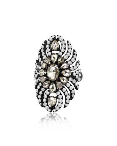 18k Black Gold Diamond Feather Ring, Size 7