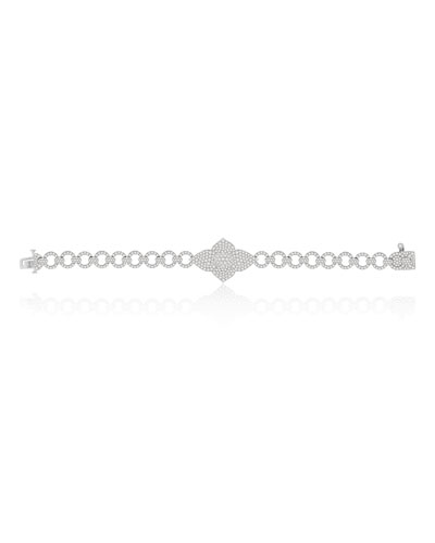 18k White Gold Diamond Pave Double Lotus Link Bracelet