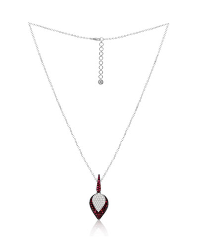 18K White Gold Ruby and Diamond Lotus Leaf Necklace