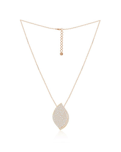 18K Rose Gold Diamond Pave Lotus Leaf Necklace