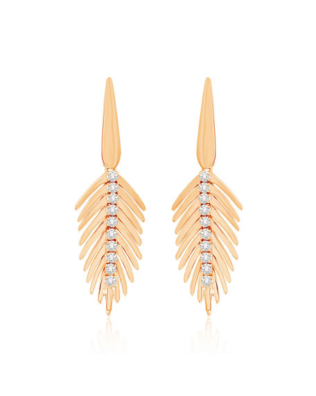 SUTRA 18K Rose Gold Diamond Small Feather Earrings