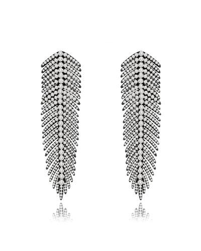 18k Black Gold Diamond Feather Earrings