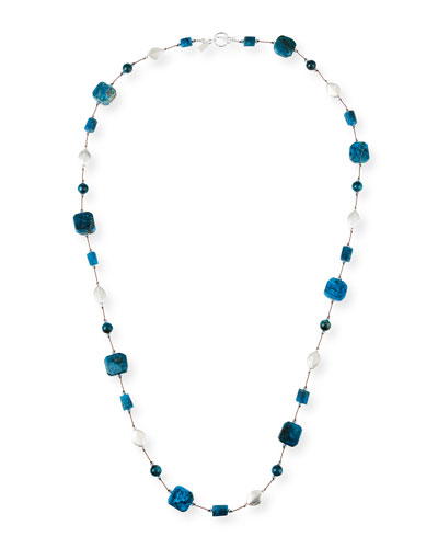 Long Apatite & Crystal Necklace, 35
