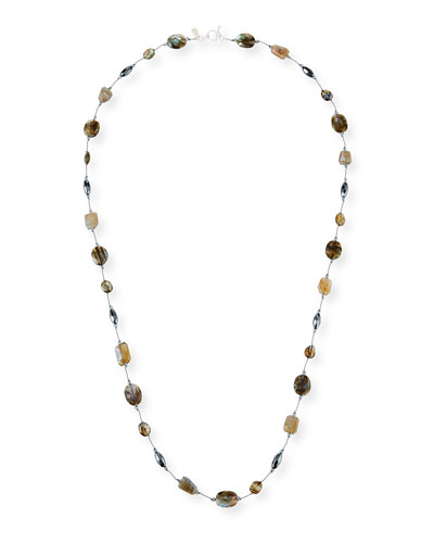 Long Stone & Crystal Necklace, 35