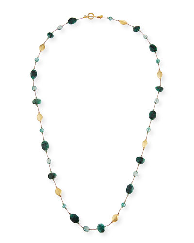 Long Green Moonstone & Emerald Necklace, 35