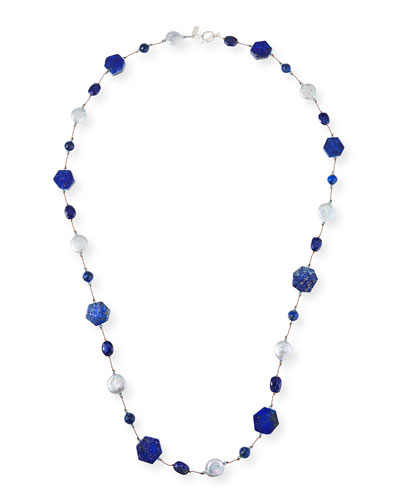 Long Lapis-Combo Necklace, 35