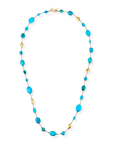 Long Turquoise/Gold Combination Necklace, 35