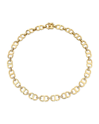 Love Large 14k Diamond Chain-Link Necklace
