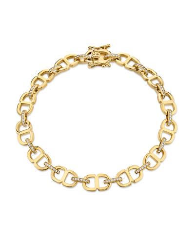 14k Diamond Small Love Chain-Link Bracelet