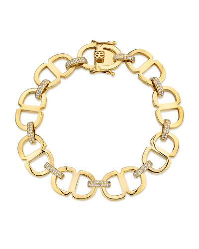 14k Diamond Large Love Chain-Link Bracelet