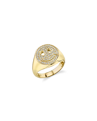 14k Diamond Happy Face Ring, Size 6.5