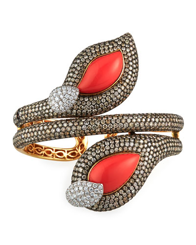 18k Coral Brown/White Diamond Hinged Bracelet