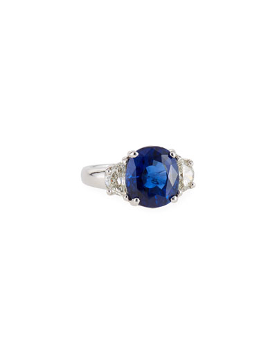18k White Gold Blue Sapphire Ring w/ Diamonds