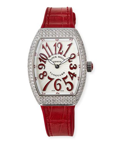 Lady Vanguard Watch with Diamonds & Alligator Strap, Red