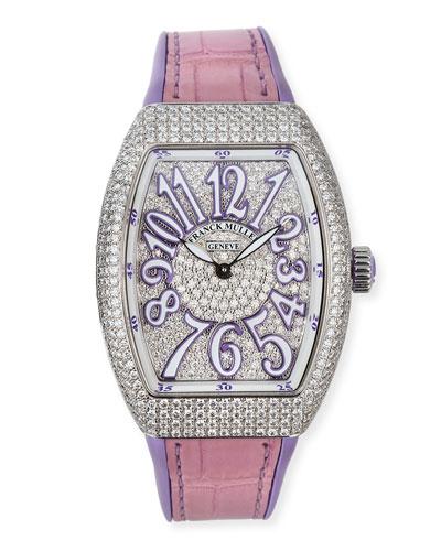 Lady Vanguard Diamond Watch w/ Alligator Strap, Purple