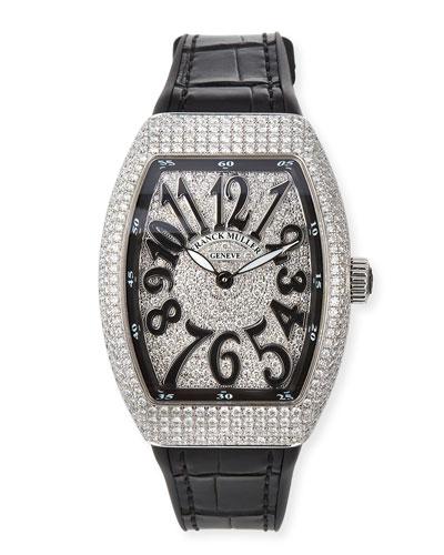 Lady Vanguard Diamond Watch w/ Alligator Strap, Black