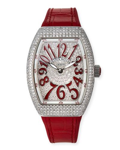 Lady Vanguard Diamond Watch w/ Alligator Strap, Red