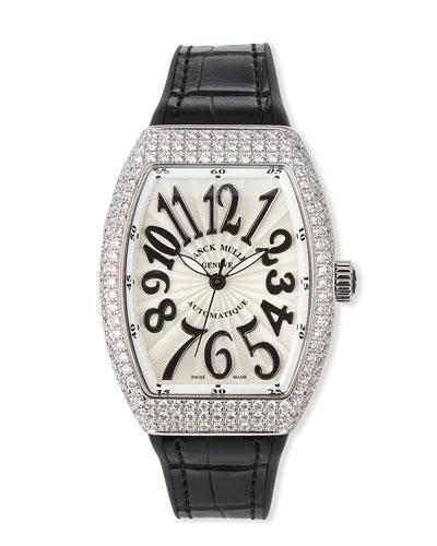 Vanguard 35mm Stainless Steel Diamond-Bezel Watch w/ Alligator Strap, Black