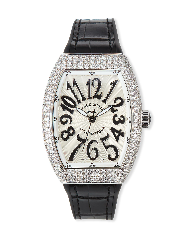 Vanguard 35mm Stainless Steel Diamond-Bezel Watch w/ Alligator Strap