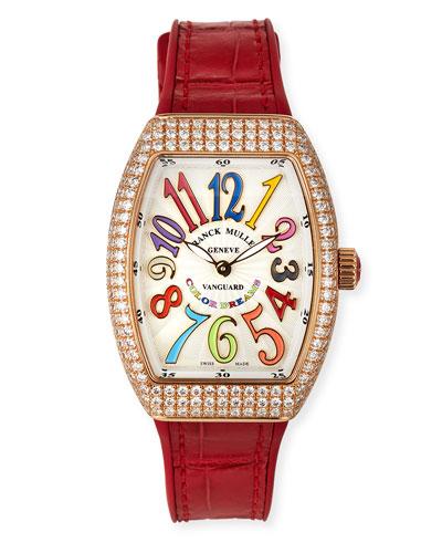 Vanguard 32mm 18k Rose Gold Color Dreams Diamond-Bezel Watch w/ Alligator ...