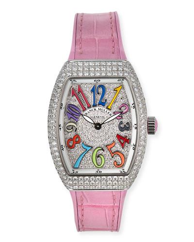 Vanguard 32mm Color Dreams All-Diamond Watch w/ Alligator Strap, Pink